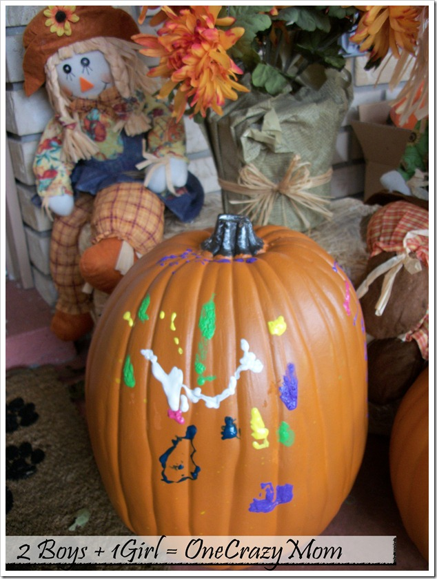 Fall pumpkins with paint decoration2