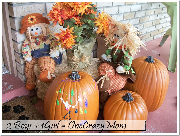 Fall pumpkins with paint decoration