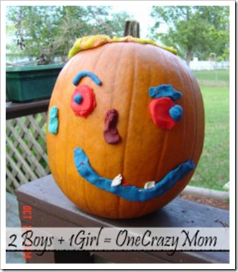 Pumpkin decorating with Crayola Magic clay end result