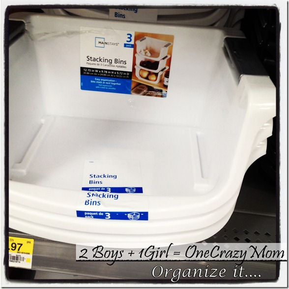 Stacking bins at walmart to organize the home