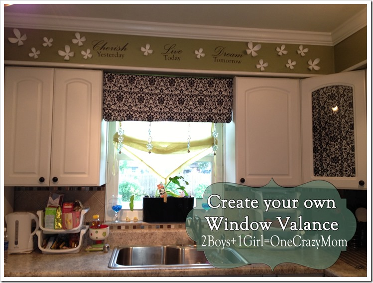 DYI window valance in the kitchen