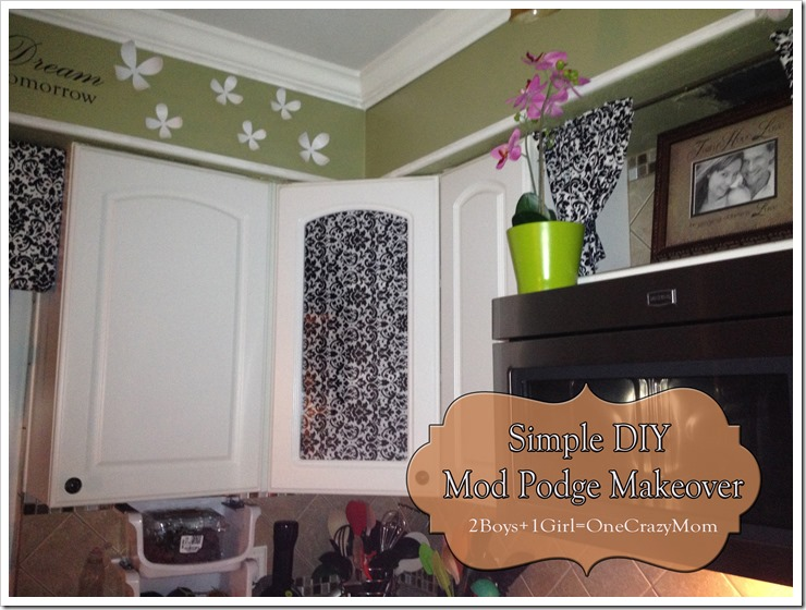 Easy way to get color into your kitchen and hide those glass door cabinets #DIY with Mod Podge 2