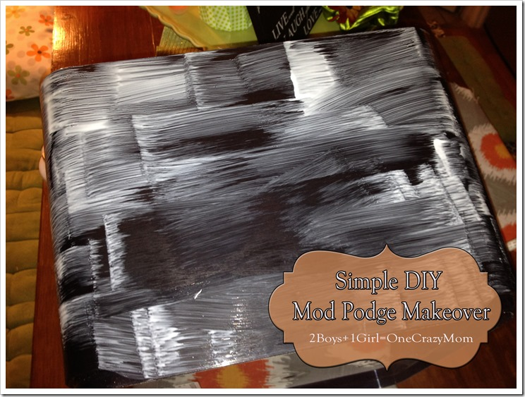 put mod podge on your plastic bin for a #DIY makeover