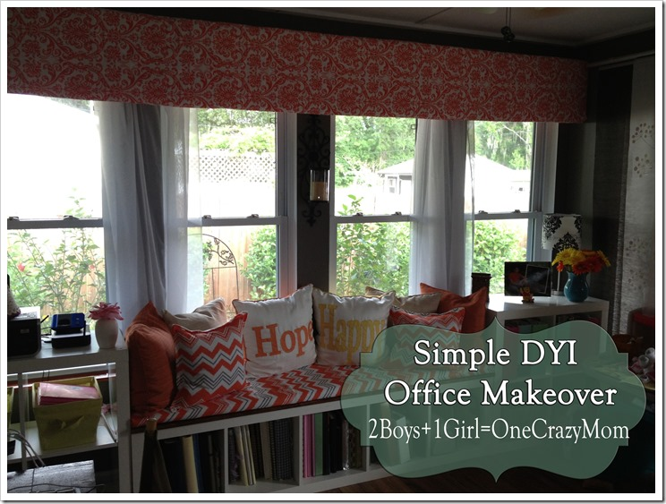 the finished office makeover with valance #DYI projects and all