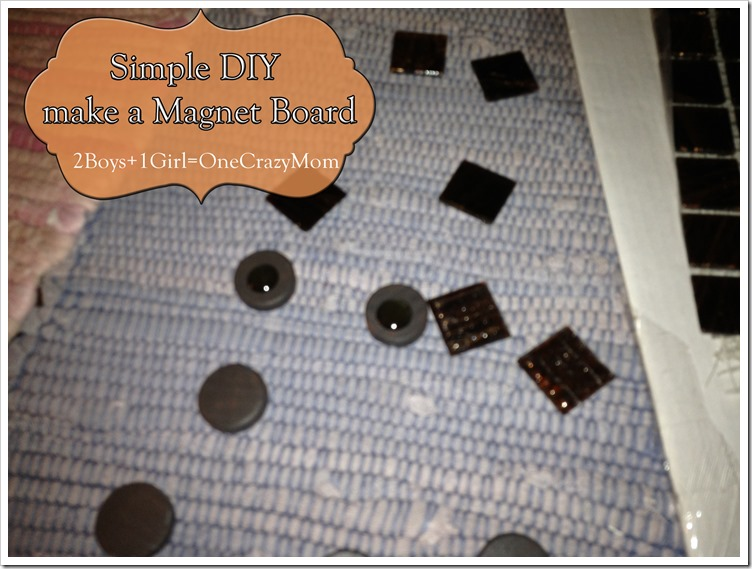 use glass tiles to attach to magnets for your #DIY magnet board