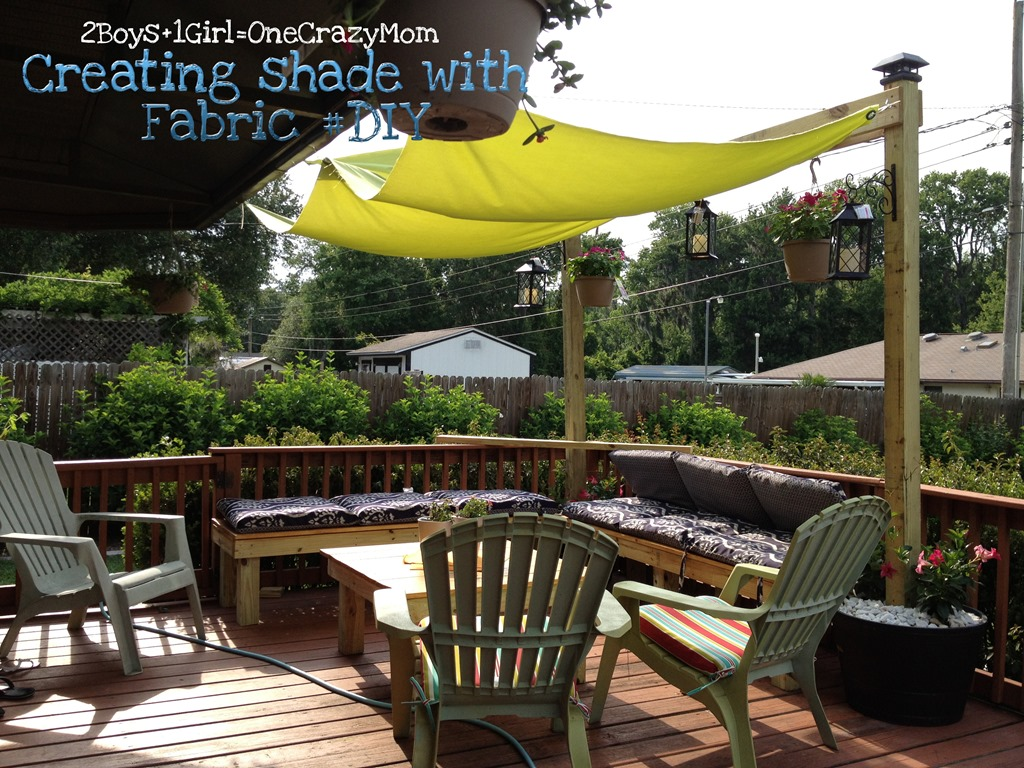 Create a simple #Fabric Sail to add shade to your outdoor ... on Diy Backyard Deck Ideas id=87533