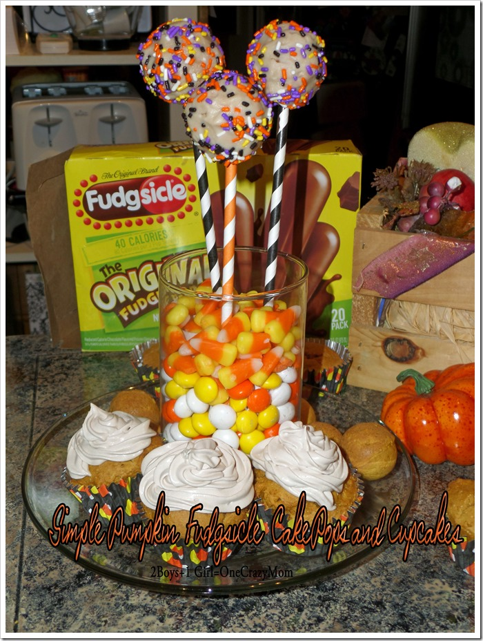 Make Simple Pumpkin and Fudgsicle Cake Pops or Cupcakes in no time just like #PopsicleMom #Recipe