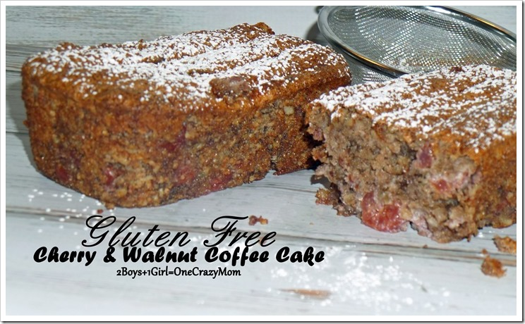 Gluten Free Cherry & Walnut Coffee Cake #Recipe
