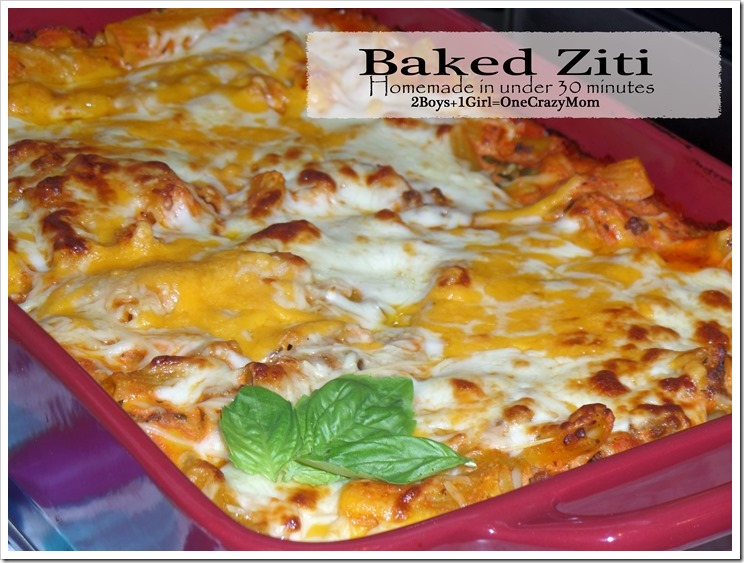 Homemade Baked Ziti in under 30 minutes #Recipe