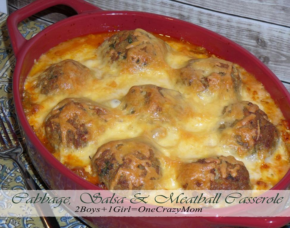 Cabbage, Salsa & Meatball Casserole #Recipe