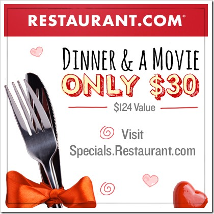 Plan for your Valentine make it a fun Dinner & Movie night for a bargain price of $30 ~ What a HOT #Deal