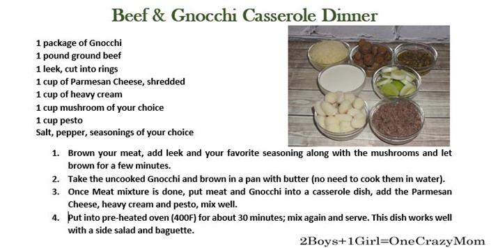 Ground Beef & Gnocchi Casserole Dinner #Recipe