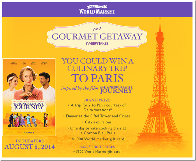 Disney's The Hundred Foot Journey and World Market have teamed up and presenting the #GourmetGetaway Sweepstakes