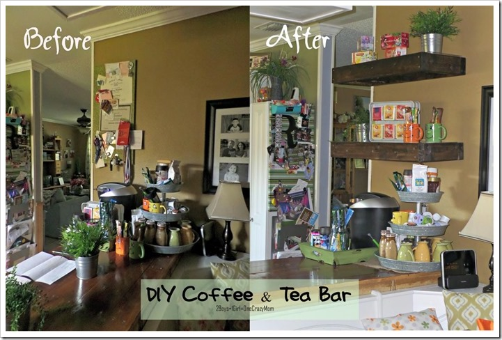Create a Simple Coffee & Tea bar in your kitchen #DIY Shelf and all