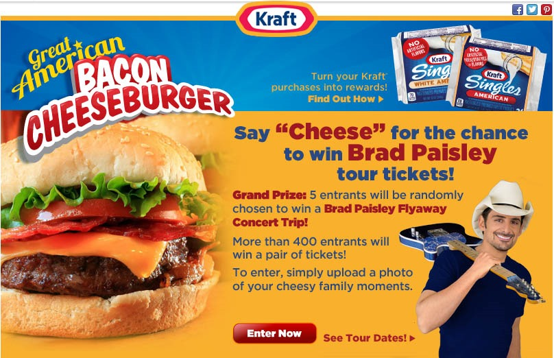 Love a good #KraftFoodsCheeseburger ? Love #BradPaisley ? Boy do I have a Treat for you #Giveaway