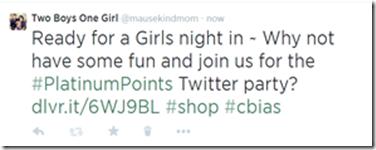 Ready for a Girls night in ~ Why not have some fun and join us for the #PlatinumPoints Twitter party?