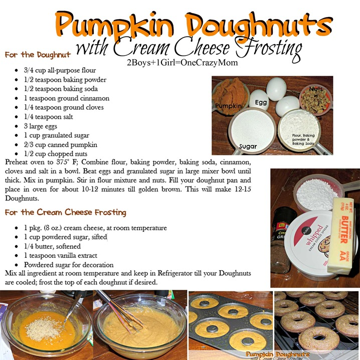 Bring a simple Pumpkin Cream Donught #Recipe as a dessert at TwoBoysOneGirlandaCrazyMom