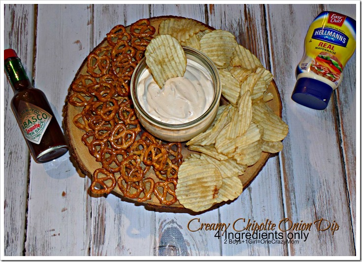 Simple Creamy Chipotle Onion Dip 4 ingredients only #TabascoHellmanns