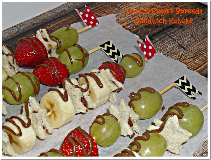 We love the Fruit & Reese's spreads sandwich kabobs #Recipe #ad