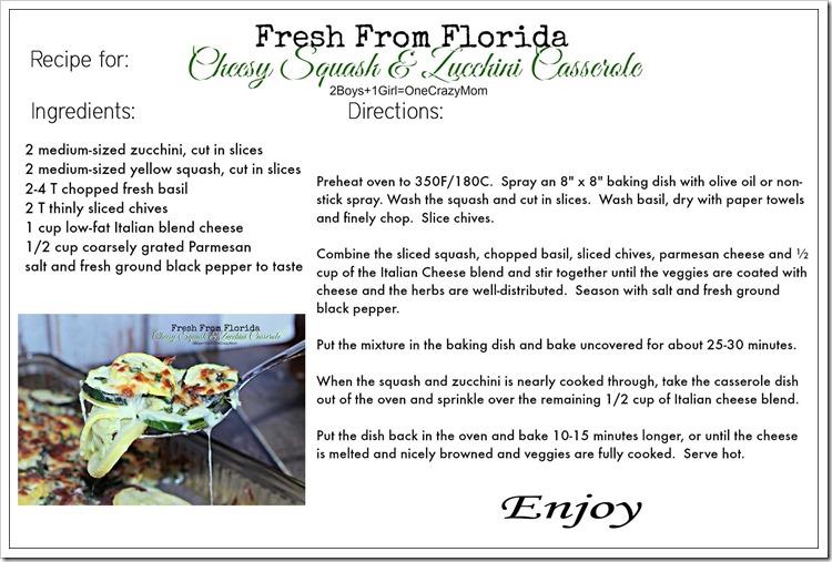 Dish up a Fresh from Florida Cheesy Squash and Zucchini Casserole #Recipe #ad Printable recipe card