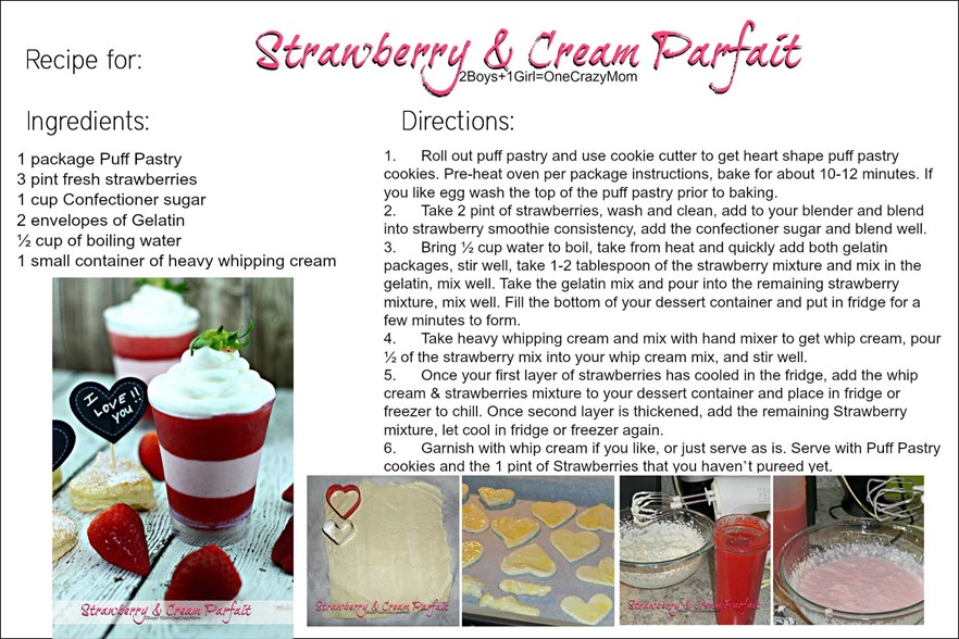 Simple Strawberry & Cream Parfait #Recipe card