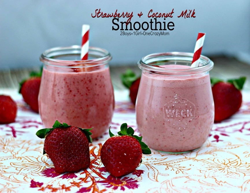 Simple and yummy Strawberry & Coconut milk Smoothie #Recipe