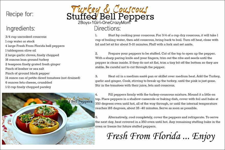 This is how to make stuffed peppers with Turkey & Cuscus filling #Recipe card