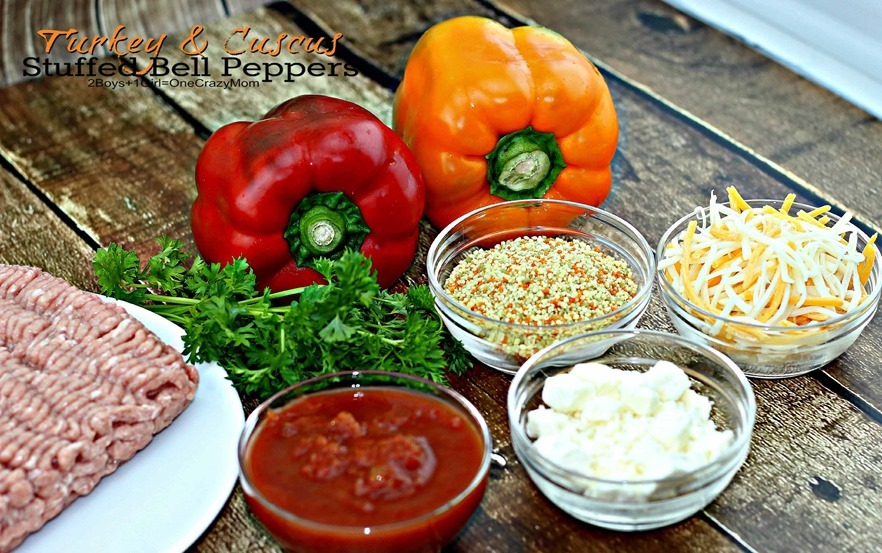 Turkey & Couscous Stuffed Bell Peppers Fresh From Florida are a delicious and fast dinner #Recipe