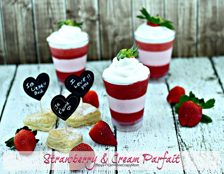 Valentines Day Dessert #Recipe Strawberry & Cream Parfait