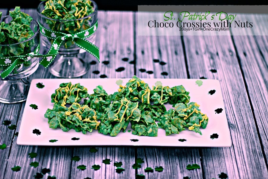 Simple no bake Choco Crossies in Green for St. Patrick's Day #Recipe