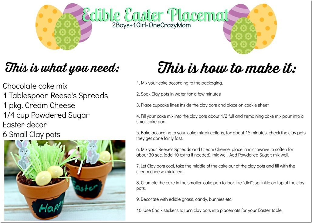 Create your edible Easter Placemat settings #Recipe card