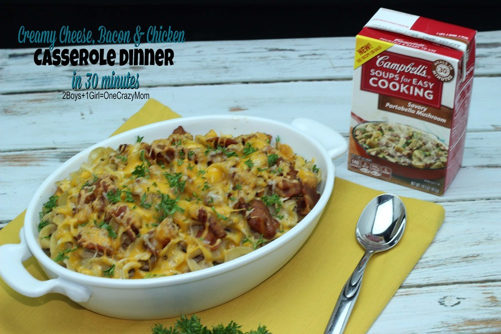 Creamy Cheese Bacon and Chicken Casserole Dinner in under 30 minutes is my #WeekNightHero Recipe