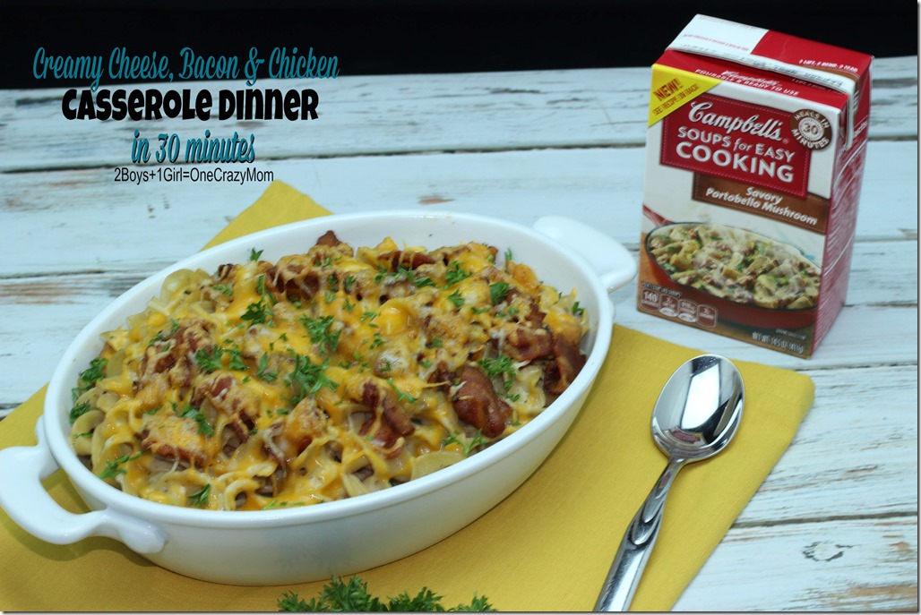 Simple Dinner in 30 minutes with Pasta, Bacon, Chicken, cheese and Cream of Mushroom YUMM #Recipe 6