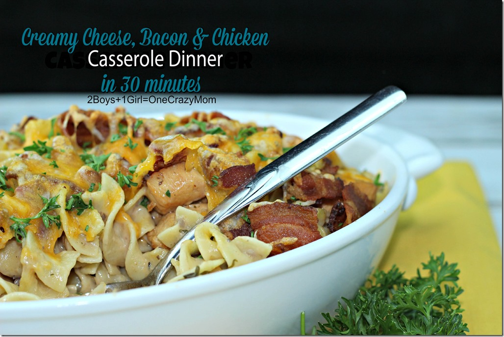 Simple Dinner in 30 minutes with Pasta, Bacon, Chicken, cheese and Cream of Mushroom YUMM #Recipe 8