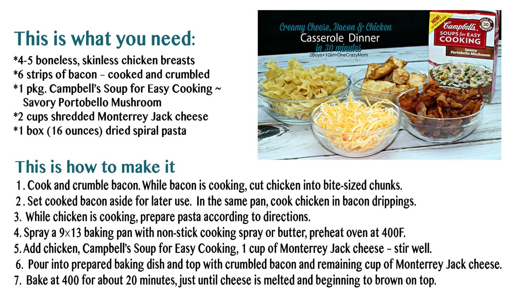 Simple Dinner in 30 minutes with Pasta, Bacon, Chicken, cheese and Cream of Mushroom YUMM #Recipe card