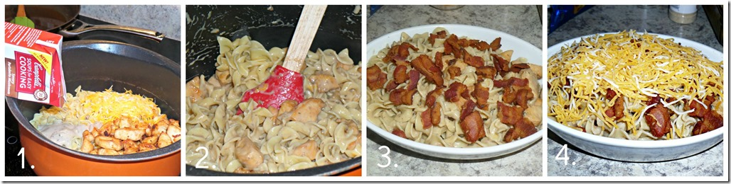 Simple Dinner in 30 minutes with Pasta, Bacon, Chicken, cheese and Cream of Mushroom YUMM