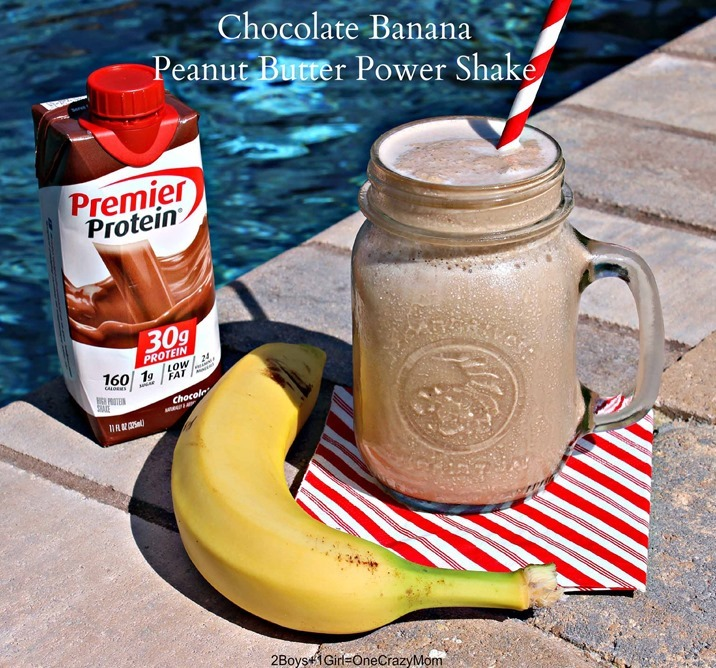A Chocolate Banana Peanut Butter Power Shake makes #MyGoodEnergy after working out #TeamPremier