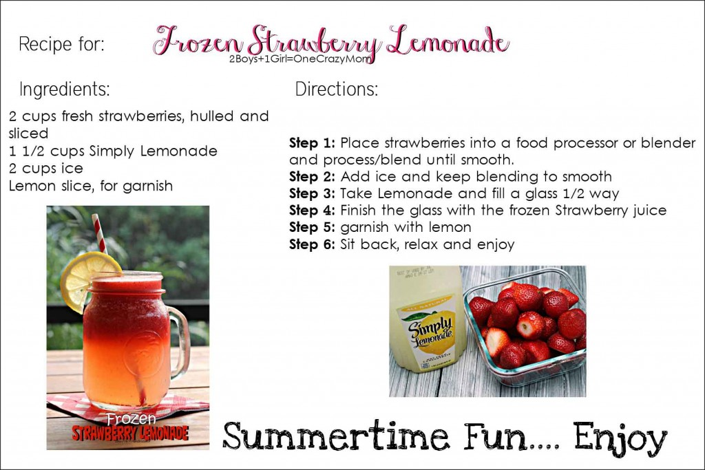 Frozen Strawberry Lemonade -Printable-Recipe- #CreativeHop #Recipe Card