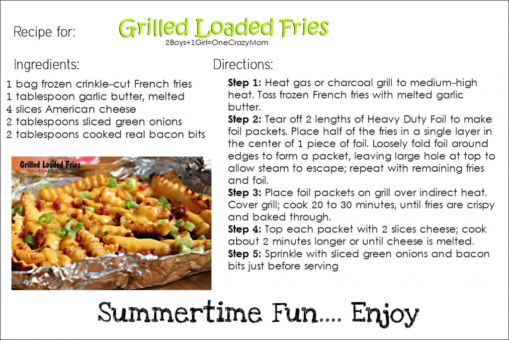 Grilled Loaded fries #CreativeHop #Recipe -Printable-Recipe-Card