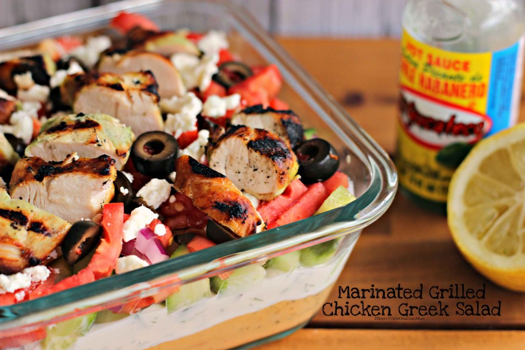 Grilled marinated Chicken Greek Salad is our #KingOfFlavor this summer
