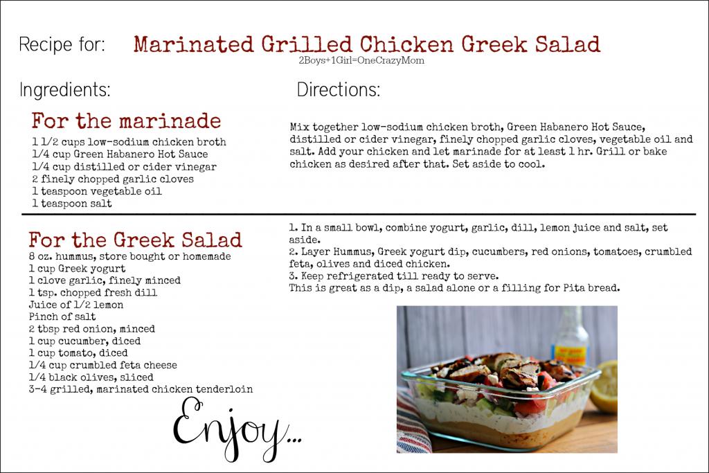 Marinated Grilled Chicken Greek Salad #Recipe Card