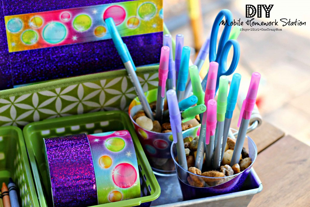 simple DIY way to organize your back to school mobile Homework Station