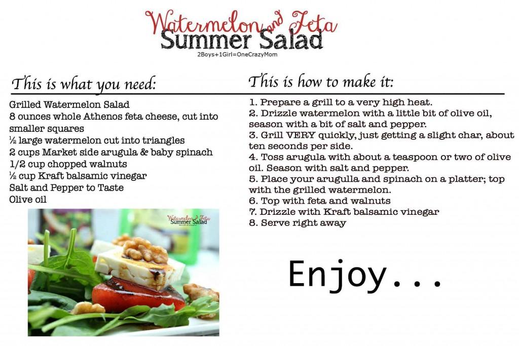#FireUpTheGrill Watermelon and feta Summer salad #Recipe Card