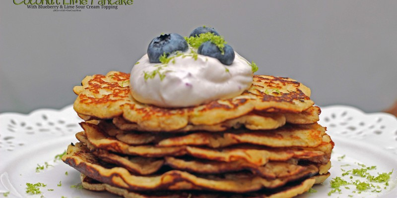 Coconut Lime Pancakes with Sour Cream topping Gluten free and healthy Breakfast idea #Recipe