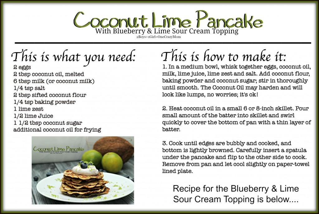 Coconut Lime Pancake #Recipe card