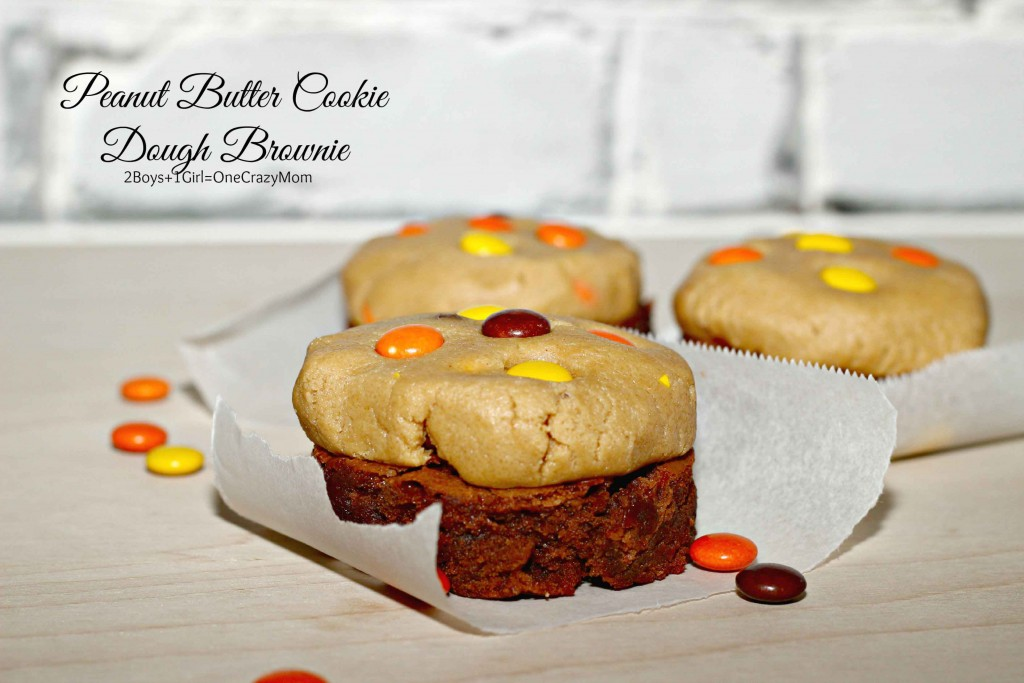 Make these delicious Peanut Butter Cookie Dough Brownies #Recipe