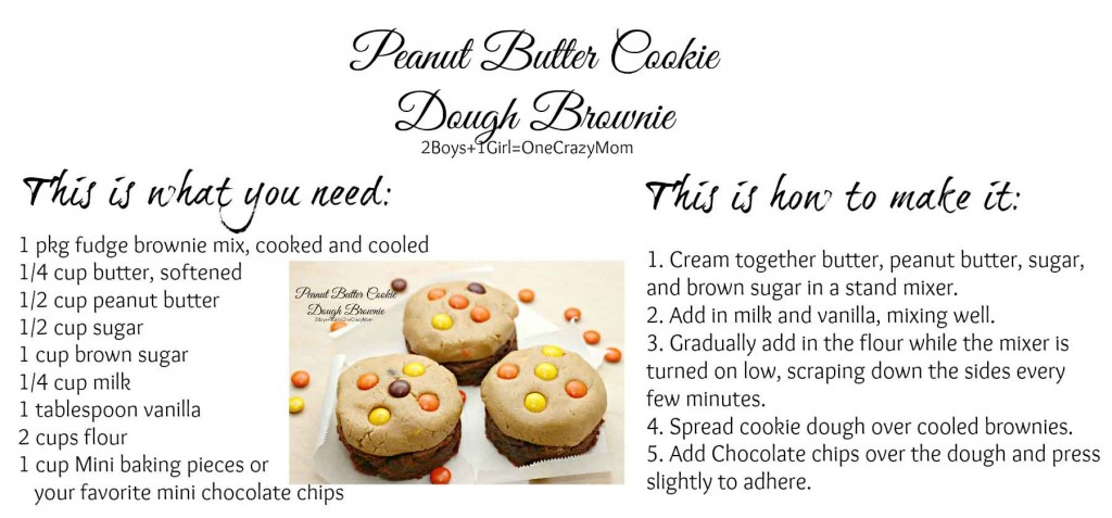 Peanut Butter Cookie Dough Brownie #Recipe Card