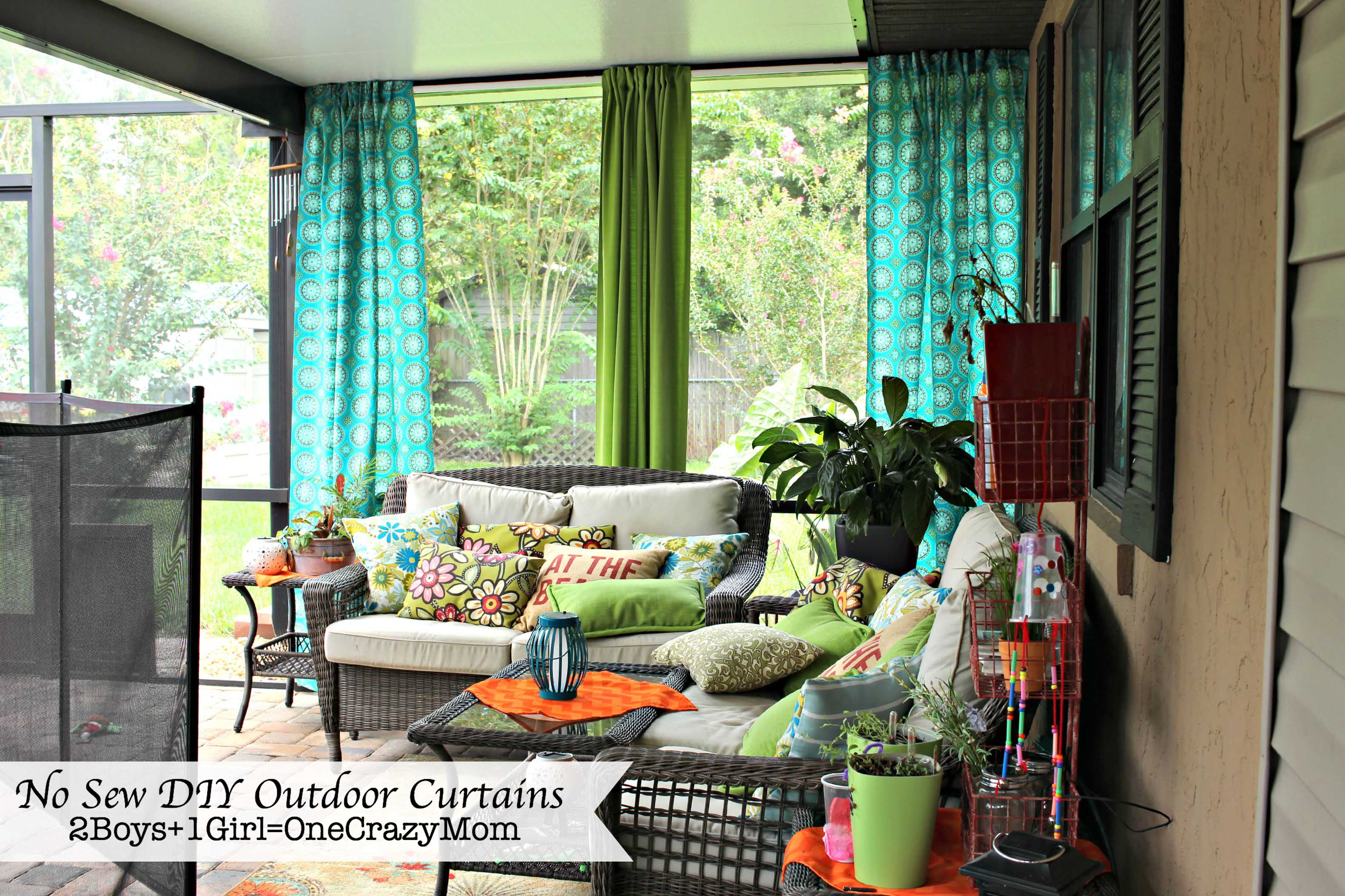 Diy outdoor curtains - Make Your No Sew Diy Outdoor Curtains On A Budget 2 Boys 1 Girl One Crazy Mom