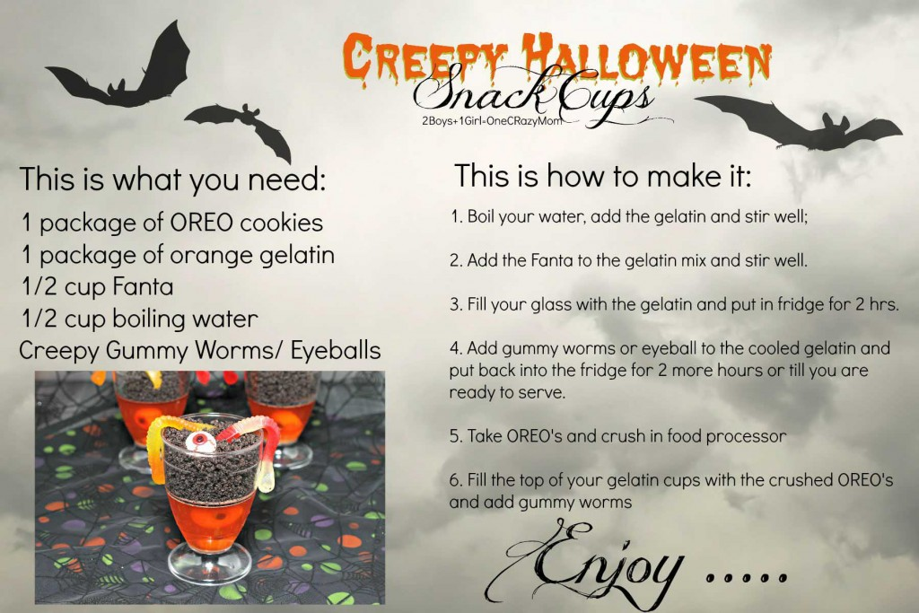 make your Creepy Halloween Snack Cups #Recipe Card