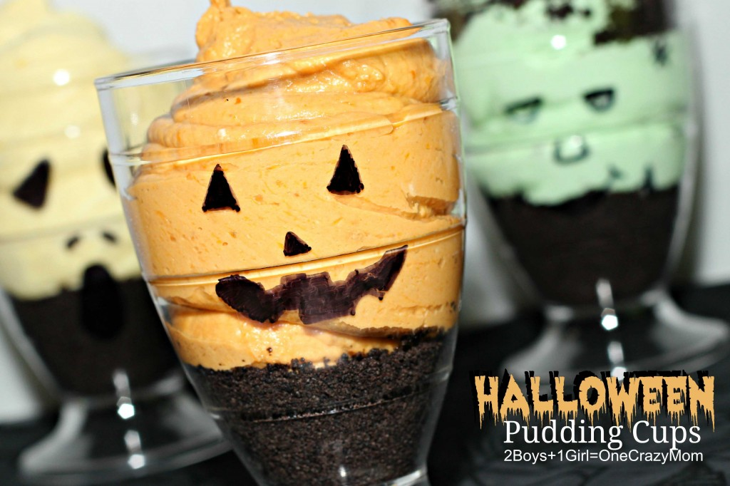 Simple No Bake Halloween Pudding Mousse Cups #Recipe